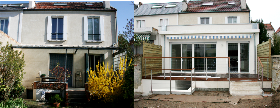 Extension a bois colombes green river entreprise for Renovation maison ancienne avant apres